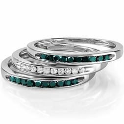 0.50 CT Sterling Silver Blue and White Diamond Wedding Stack