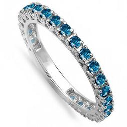0.98 CT 14K White Gold Round Blue Diamond Eternity Stackable