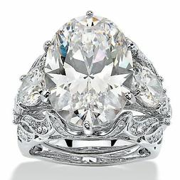 15.78 Oval-Cut Cubic Zirconia  Platinum-Plated Bridal Ring S