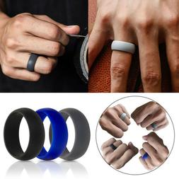 1PC Silicone Ring Wedding Band for Men Women 8mm Wide Solid