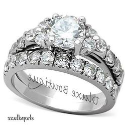 2.50 CT ROUND CUT CZ SILVER STAINLESS STEEL WEDDING RING SET
