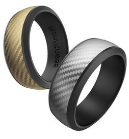 Ikonfittness 2 Color Silicone Rubber Wedding Ring for Men Wo
