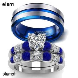 2 Rings Couple Rings Stainless Steel Sapphire White Gold CZ