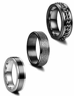 Jstyle 3Pcs Stainless Steel Fidget Band Rings for Women Mens
