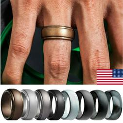 4/8 Pack Men Women Silicone Wedding Engagement Ring Rubber B