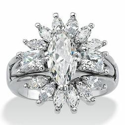 4.80 TCW Marquise-Cut Cubic Zirconia Platinum-Plated Jacket