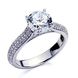 5mm Platinum Plated Silver 1ct CZ Channel Wedding Engagement