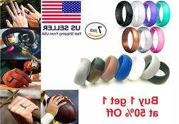 7 Pcs Silicone Wedding Ring Band Rubber Men Women Flexible G