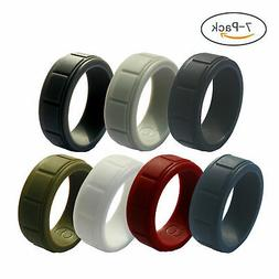 7 pieces Men's Silicone Ring Wedding Band Working Sports Rub