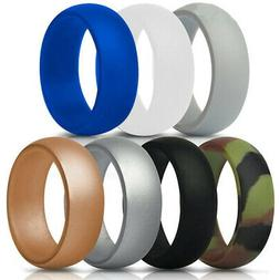 7x Lot Mens Rubber Silicone Safety Wedding Ring Band Sports
