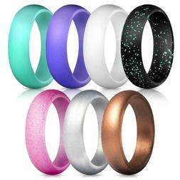 7X Unisex Silicone Rings Sports  Bands Hand Ring Workout Out