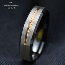 8/6mm Silver Brushed Black Edge Tungsten Ring Gold Stripe Me