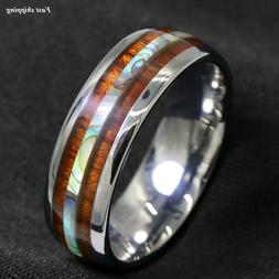 8/6mm Tungsten carbide ring Koa Wood Abalone ATOP Wedding Ba