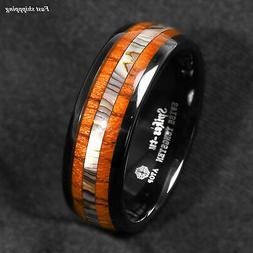 8mm Black Tungsten carbide ring Koa Wood Abalone ATOP Weddin