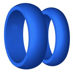 8mm His & 6mm Her's Wedding Band Silicone Blue Rubber Silico