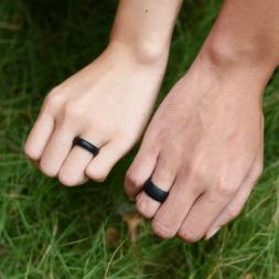 8mm His & 6mm Her's Wedding Band Rubber Silicone Ring Set