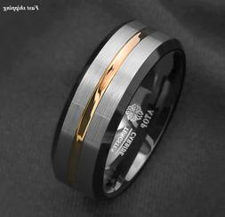 8/6Mm Silver Brushed Black edge Tungsten Ring Gold Stripe AT