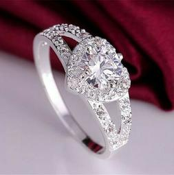 925 Solid Sterling Silver Women's Heart CZ Halo Wedding Enga