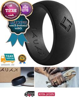 Soft Silicone Wedding Ring Men Black Rubber Band Comfortable