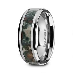 Tungsten Beveled Men's Wedding Band with Coprolite FOSSIL IN