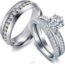 Couple Rings Stainless steel CZ Wedding Band White Gold Fill