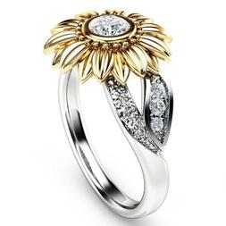 Fashion Crystal Sunflower Ring Women White Topaz Wedding Ban