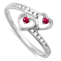 Dazzlingrock Collection Round Ruby & White Diamond Ladies Br