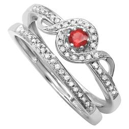 Dazzlingrock Collection Round White Diamond and Ruby Ladies