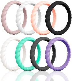 Egnaro Braided Stackable Silicone Wedding Ring for Women Sta