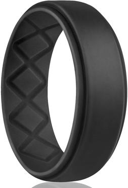 Egnaro Silicone Wedding Ring for Men, Breathable Mens' Rubbe