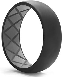 Egnaro Silicone Wedding Ring for Men, Dual-Tone Breathable M