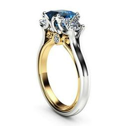 Elegant Rings for Women Blue Sapphire 925 Silver Jewelry Wed