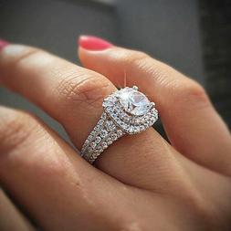 Exquisite 925 Silver Gold Filled Cz Double Halo Engagement W