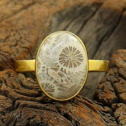 Fossil Coral Yellow Gold Plated Fine Silver Wedding Gift Wom