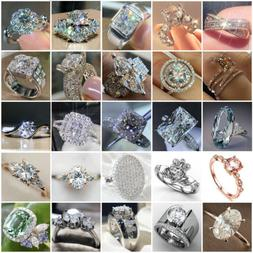 Gorgeous Wedding Rings Women 925 Silver Jewelry White Sapphi