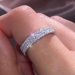 Gorgeous Women 925 Silver Rings Round Cut White Sapphire Wed