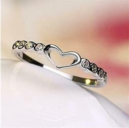 Heart Women 925 Silver Rings White Sapphire Wedding Ring Fre