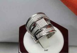 HIS AND HERS TRIO SET MENS WOMENS WEDDING ENGAGEMENT PAVE 92