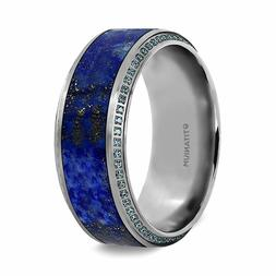 HYDRA Lapis Lazuli Inlaid Titanium Wedding Ring Round Blue D