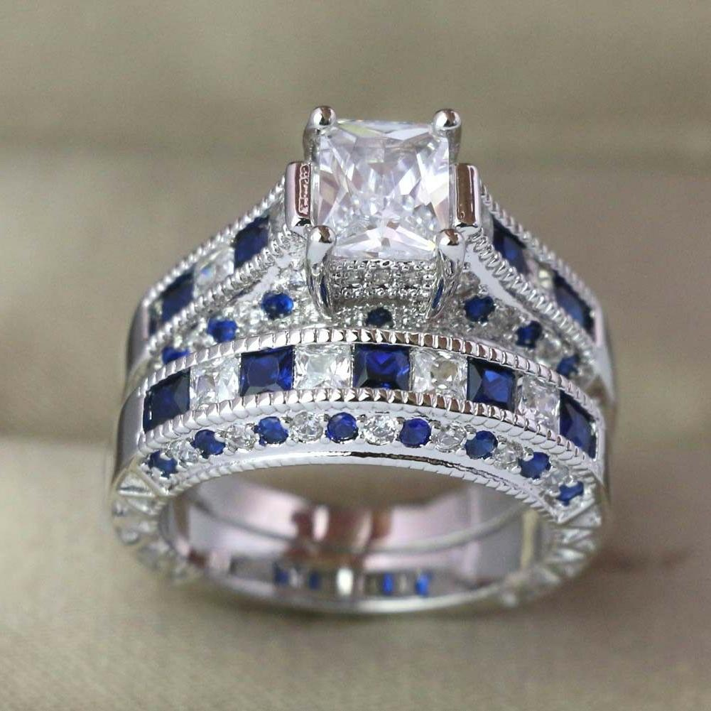 2 Stainless Steel Ring CZ