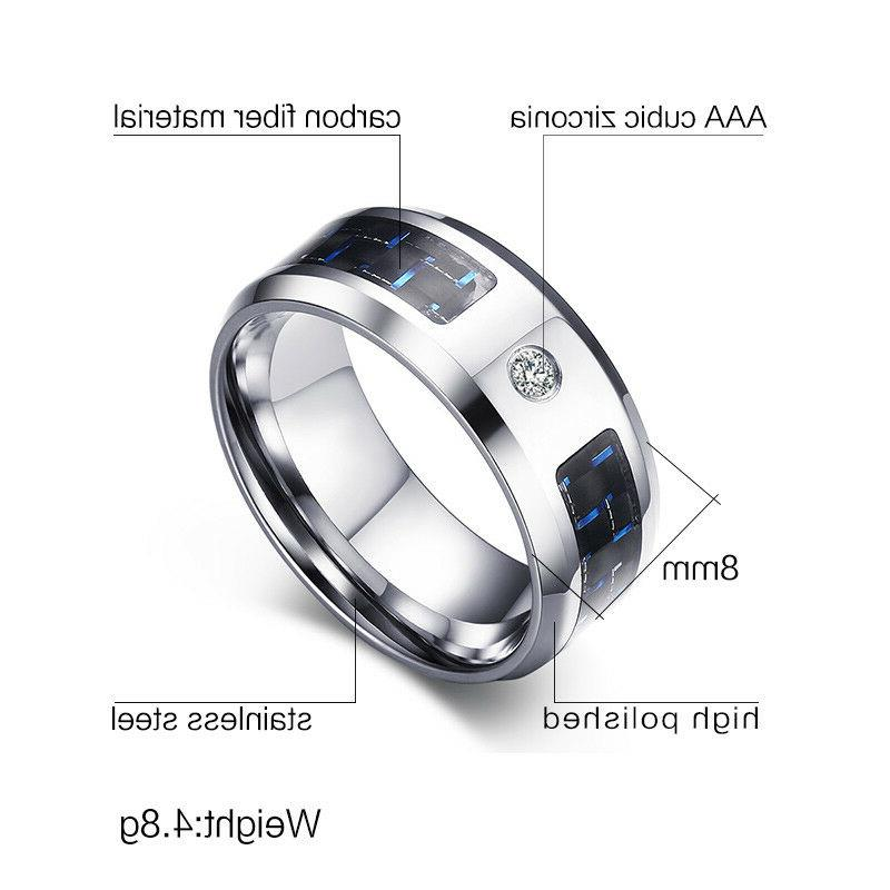 2 Couple Stainless Steel CZ Ring Sets