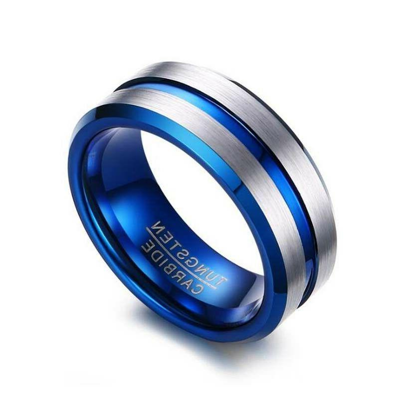 2 Rings Tungsten Bands Sapphire Gold Rings