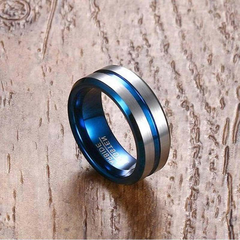 2 Rings Couple Tungsten Bands Sapphire Gold Women's Wedding Rings