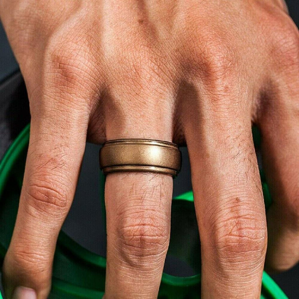 4/8 Pack Men Silicone Wedding Ring Rubber