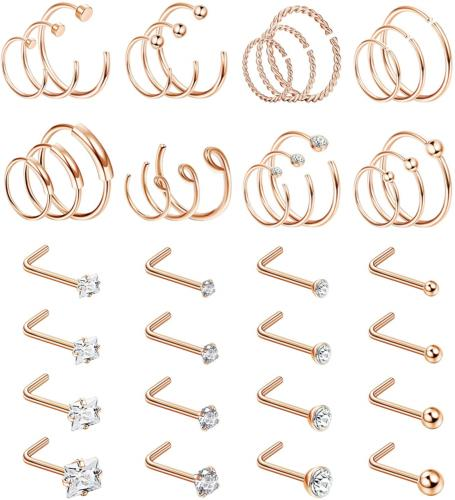 Jstyle 40 Pieces C-Shaped Nose Ring Hoop for Mens Women L-Sh