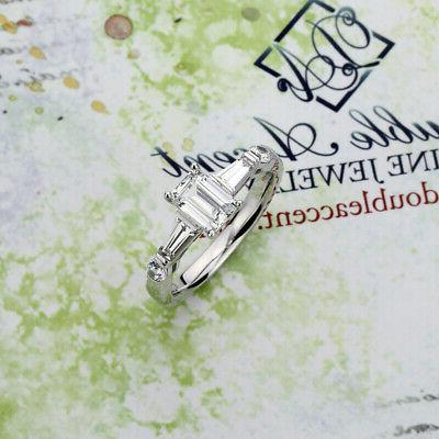 7mm Plated 1ct Baguette Engagement