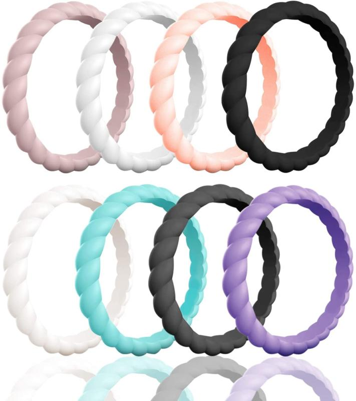 braided silicone wedding ring for women
