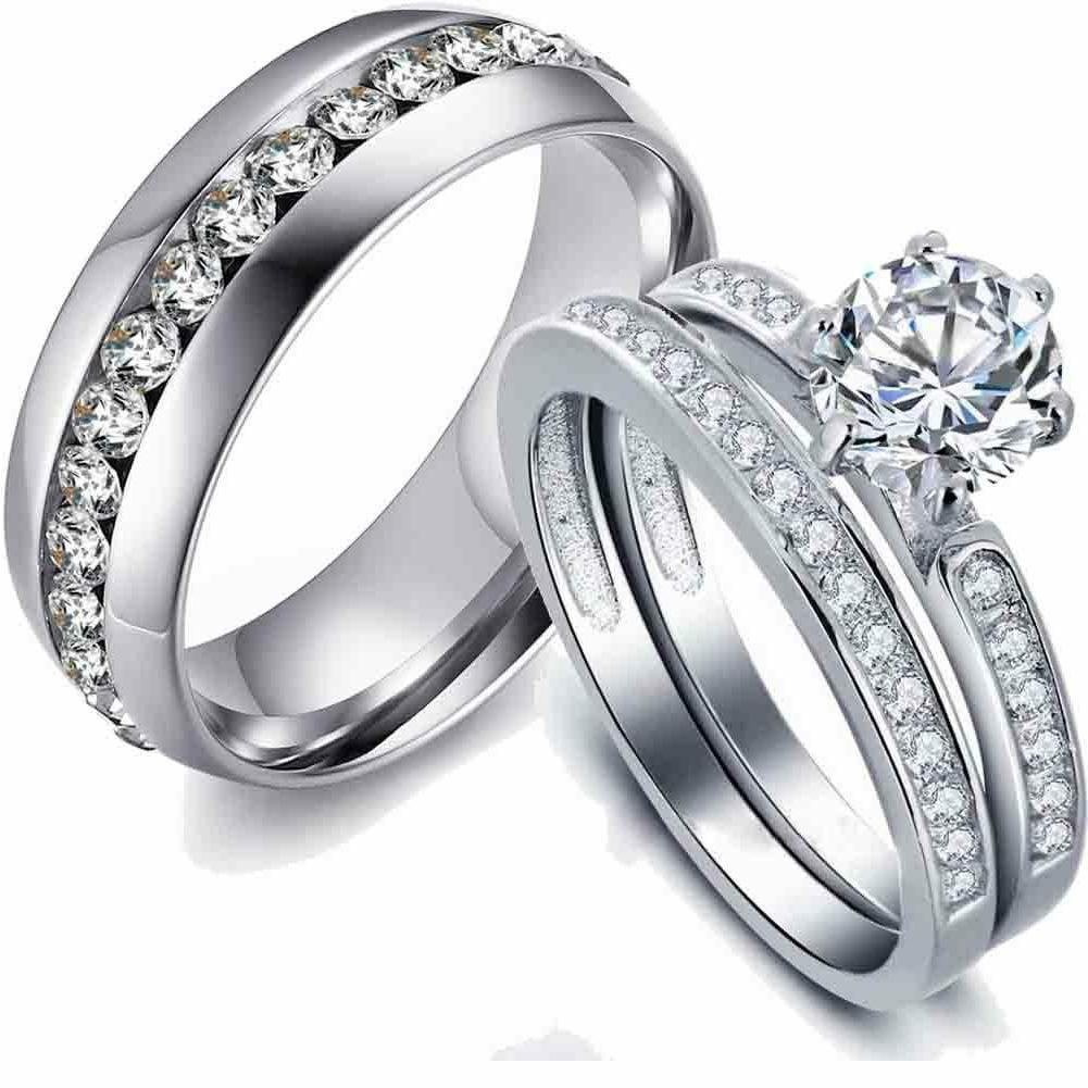 couple rings stainless steel cz wedding band