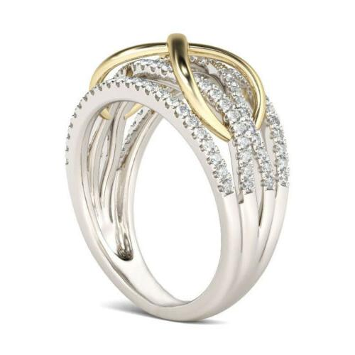 Fashion Silver Gold Two Ring White US