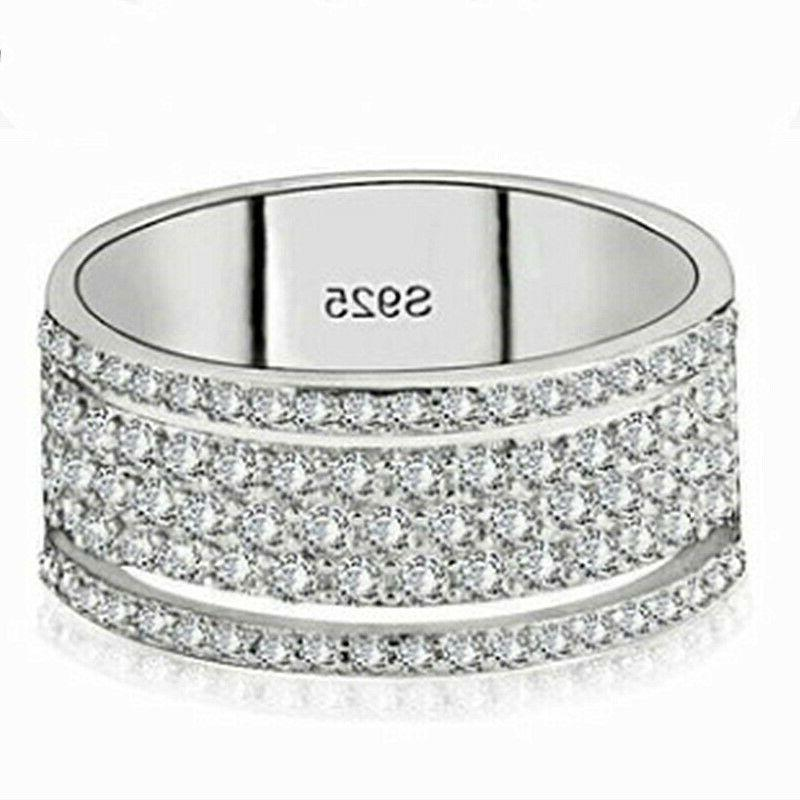 Gorgeous Silver Rings White Sapphire Rings Size